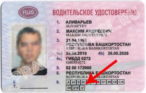 Категория водительского удостоверения