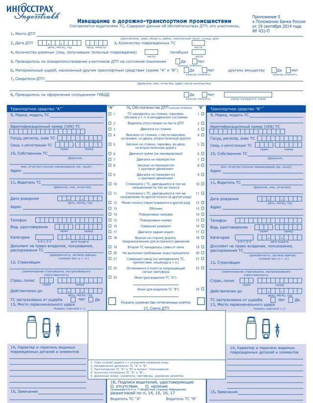 Документы для страховой компании после ДТП - образец и бланк заявления, список