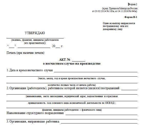 Акт о расследовании несчастного случая Форма Н-1: бланк, образец, оформление