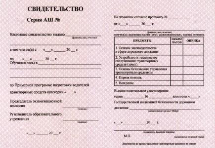 Свидетельство (сертификат) об окончании автошколы: сколько действует, образец, серия и номер